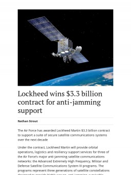 Lockheed wins $3.3 billion contract for anti-jamming support