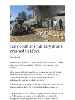Italy confirms military drone crashed in Libya